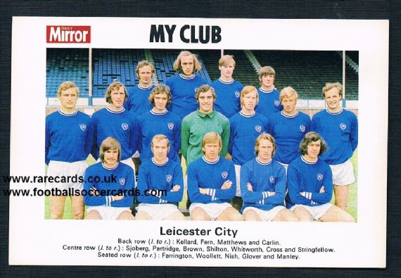 1970 My Club Daily Mirror postcard-size card Leicester City